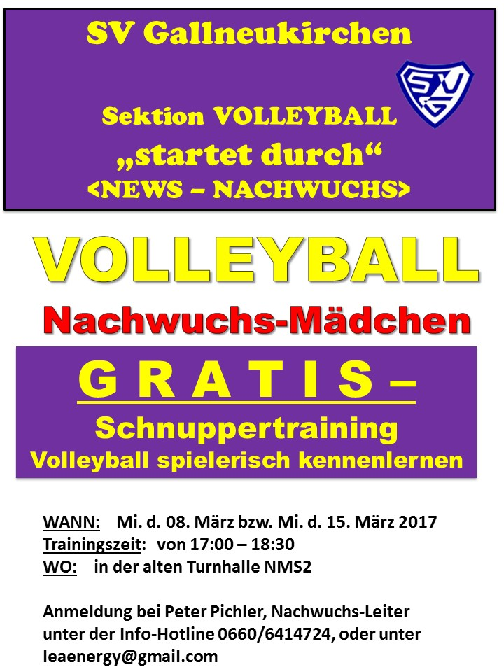 Plakat f. Schnuppertraining Mädchen U13